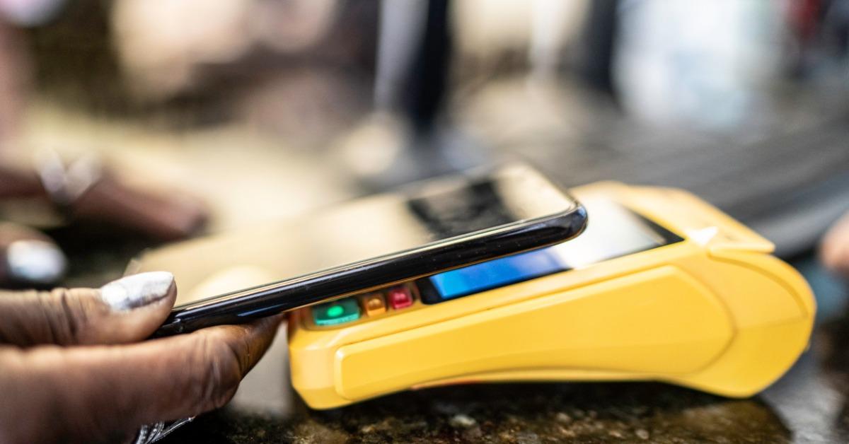 Customer paying using mobile phone